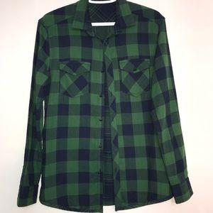 Dark Green and Black Plaid Striped Button Up Shirt